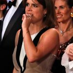 Eugenie looked tense while watching the boxing match Photo C GETTY