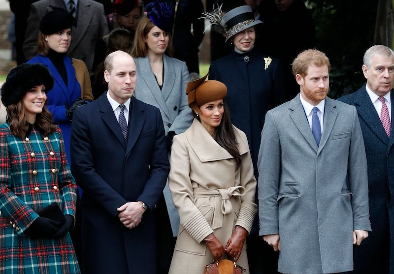 Kate Middleton, Prince William, Meghan Markle, and Prince Harry on Christmas Day. (Photo Getty Images)