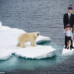 In one photoshopped image the Cambridges are seen polar bear spotting in the Arctic