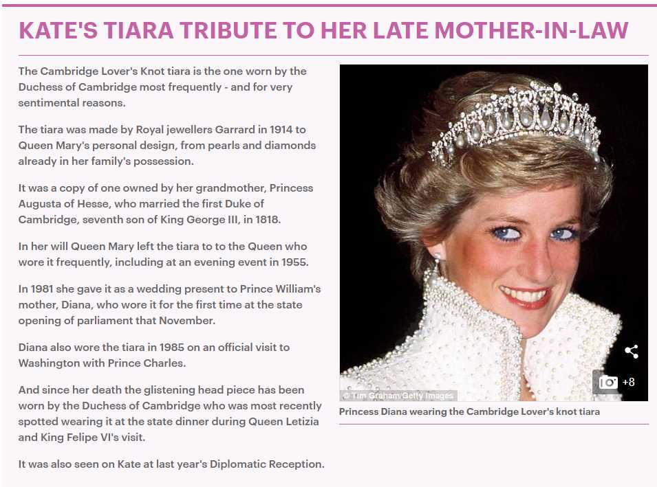 KATE'S TIARA TRIBUTE TO HER LATE MOTHER-IN-LAW Photo (C) GETTY