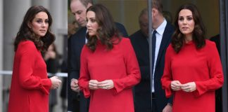 Kate hid her baby bump in a red shift dress once she was at the engagement Photo (C) WENN
