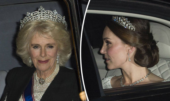Kate (right) and Camilla arrive at the diplomatic reception at Buckingham Palace Photo (C) GETTY