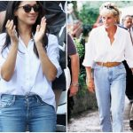 Left Meghan Markle in a stylish and casual outfit Vaughn Ridley Getty Images Right Princess Diana walking down the street in jeans YouTube