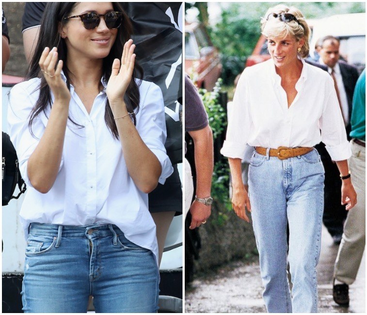 Left Meghan Markle in a stylish and casual outfit Vaughn Ridley Getty Images, Right Princess Diana walking down the street in jeans YouTube