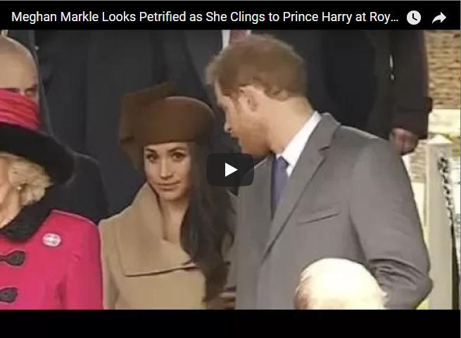 Meghan Markle Looks Petrified as She Clings to Prince Harry at Royal Christmas Service 2017