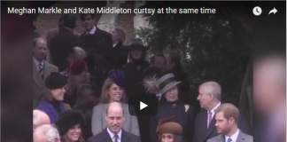 Meghan Markle and Kate Middleton curtsy at the same time