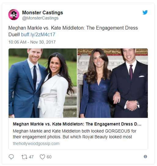 Meghan Markle vs. Kate Middleton The Engagement Dress Due Photo (C) TWITTER