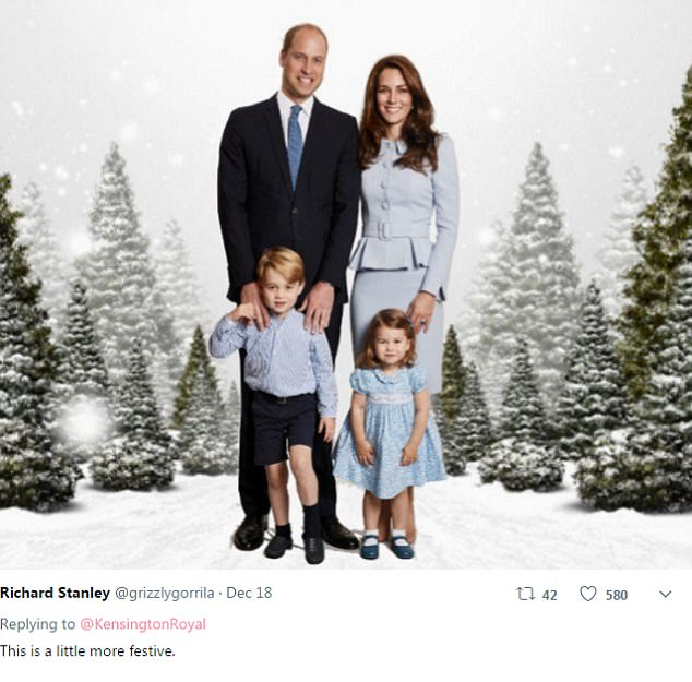 Social media users have decided to add a touch of fun to the Cambridges' Christmas card this year by photoshopping in a variety of different backgrounds