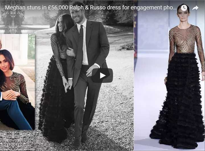 So, there's people starving and Meghan Markle wears a one time engagement dress that cost £56,000 Photo (C) TWITTER