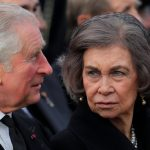 Prince Charles of Britain left speaks with former Spanish Queen Sofia during the funeral ceremony. Credit AP