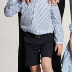 Prince George four looks smart in navy shorts and a blue and white striped shirt