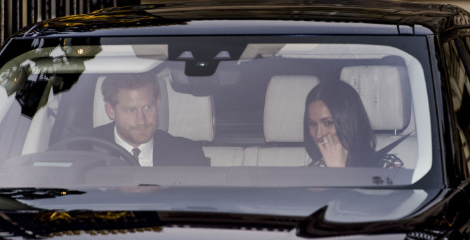 LONDON, ENGLAND - DECEMBER 20:  Prince Harry and Meghan Markle attend a Christmas lunch for the extended Royal Family at Buckingham Palace on December 20, 2017 in London, England.  (Photo by Mark Cuthbert/UK Press via Getty Images)