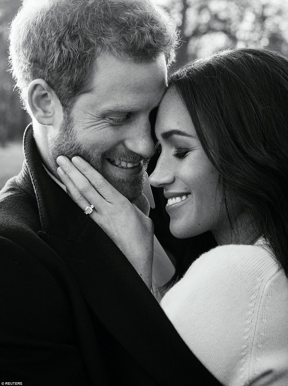 Prince Harry and Meghan Markle have today released their official engagement portraits taken at Frogmore House, with in an intimate black and white shot seeing the couple pose face to face