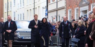 Prince Harry and Ms. Meghan Markle arrive in Nottingham for their first official visit together since announcing their engagement. Photo C KENSINGTON PALACE TWITTER