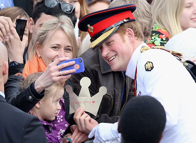 Prince Harry has only posed for a selfie with fans a handful of times Photo (C) GETTY
