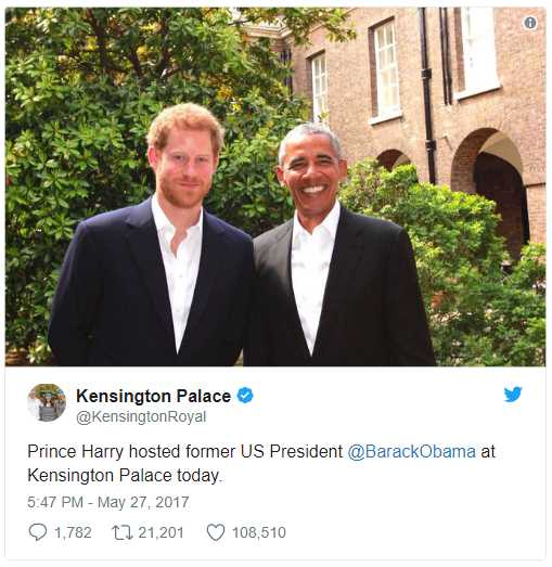 Prince Harry hosted former US President @BarackObama at Kensington Palace today.