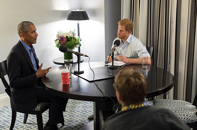 Prince Harry interviews Barack Obama on the Today programme Photo (C) GETTY