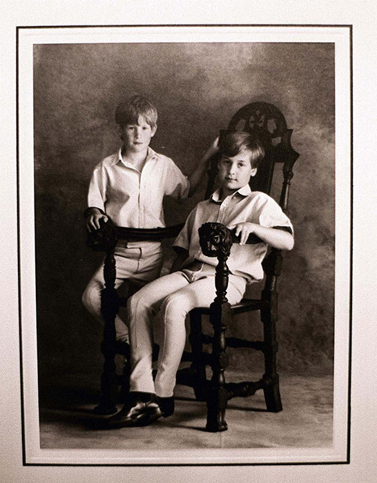 Princes William and Harry on a black and white Christmas card. Photo: © PA