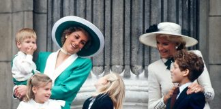 LONDON, UNITED KINGDOM - JUNE 01: Princess Diana Holding Prince Harry At The Trooping The Colour Ceremony. She Is Talking To Lady Davina Windsor. Also In The Picture: Lady Rose Windsor, Princess Michael Of Kent And Lord Frederick Windsor. (Photo by Tim Graham/Getty Images)