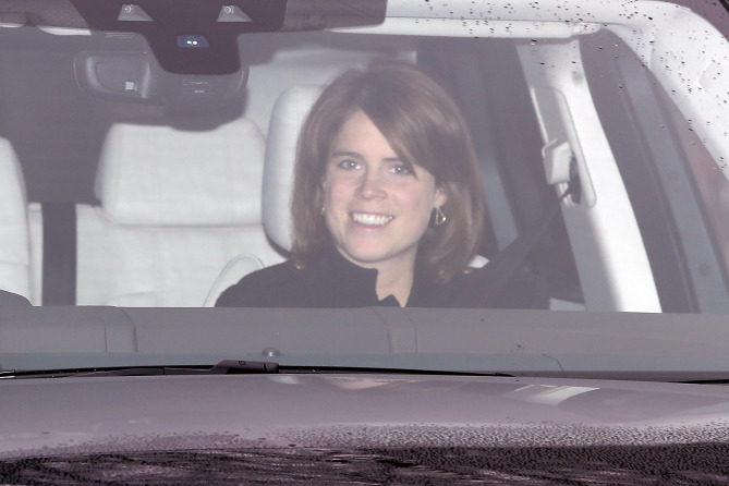 Arrivals at Buckingham Palace for the Queen's Christmas lunch. <P> Pictured: Princess Eugenie of York <B>Ref: SPL1637164  201217  </B><BR /> Picture by: Alex Huckle / Splash News<BR /> </P><P> <B>Splash News and Pictures</B><BR /> Los Angeles:	310-821-2666<BR /> New York:	212-619-2666<BR /> London:	870-934-2666<BR /> photodesk@splashnews.com<BR /> </P>