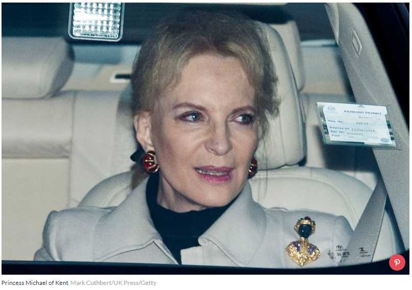 "Princess Michael of Kent, the wife of Prince Michael of Kent, the Queen's first cousin, was pictured arriving at Buckingham Palace wearing a brooch on her left shoulder which appeared to be ""blackamoor"" jewelry"