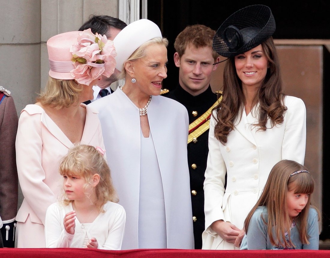 LONDON, UNITED KINGDOM - JUNE 11: (EMBARGOED FOR PUBLICATION IN UK NEWSPAPERS UNTIL 48 HOURS AFTER CREATE DATE AND TIME) Sophie, Countess of Wessex, Princess Michael of Kent, Prince Harry, Catherine, Duchess of Cambridge, Lady Louise Windsor and Eloise Taylor stand on the balcony of Buckingham Palace after the Trooping the Colour Parade on June 11, 2011 in London, England. The ceremony of Trooping the Colour is believed to have first been performed during the reign of King Charles II. In 1748, it was decided that the parade would be used to mark the official birthday of the Sovereign. More than 600 guardsmen and cavalry make up the parade, a celebration of the Sovereign's official birthday, although the Queen's actual birthday is on 21 April. (Photo by Indigo/Getty Images)