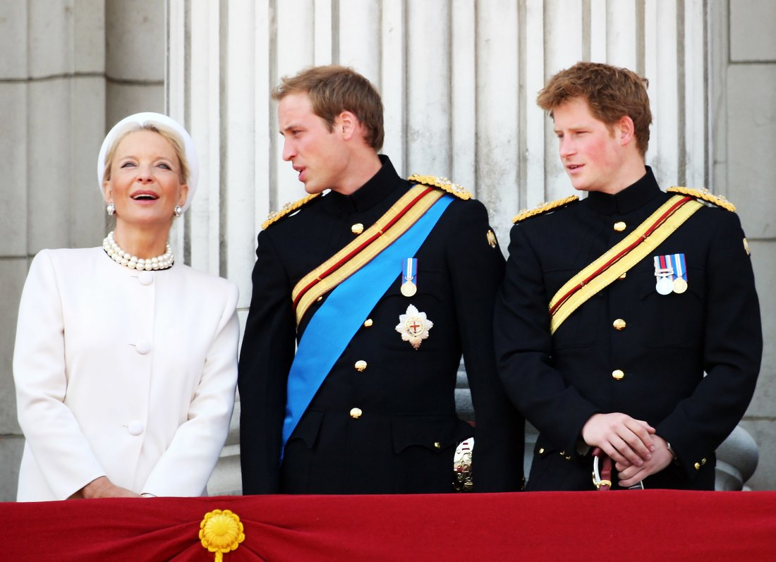 LONDON - JUNE 14: Princess Michael of Kent, Prince William and waves with Prince Harry from the balcony of Buckingham Palace during the Trooping of the Colour on June 14, 2008 in London, England. The Trooping of the Colour is the Queen's Annual Birthday Parade and dates back to the time of Charles II in the 17th Century when the Colours of a regiment were used as a rallying point in battle. (Photo by Chris Jackson/Getty Images)