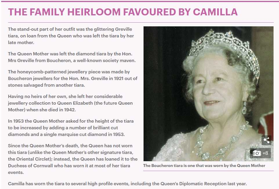 THE FAMILY HEIRLOOM FAVOURED BY CAMILLA Photo (C) GETTY