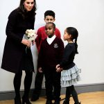 The Duchess of Cambridge speaks to Yahya Hussein Ali seven and Dawud Wahabi 10 children affected by the Grenfell Tower fire and seven year old Ailise Taylor