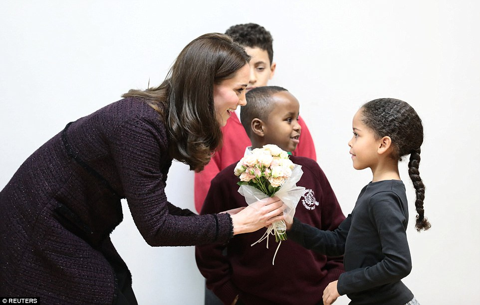 The Duchess received a bouquet to welcome her to the centre from seven-year-old Ailise Taylor