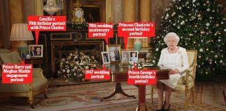 The Queen will pay tribute to the Royal Family during her 60th Christmas speech as she poses next to photos of her and Prince Philip, her great-grandchildren Charlotte and George, Prince Harry and Meghan Markle and Prince Charles and Camilla
