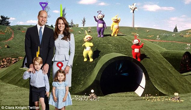 Social media users have decided to add a touch of fun to the Cambridges Christmas card this year by photoshopping in a variety of different backgrounds
