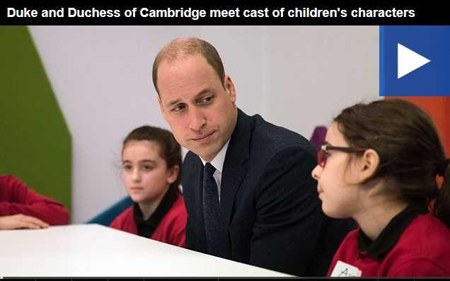 Watch Video Duke and Duchess of Cambridge meet cast of children's characters
