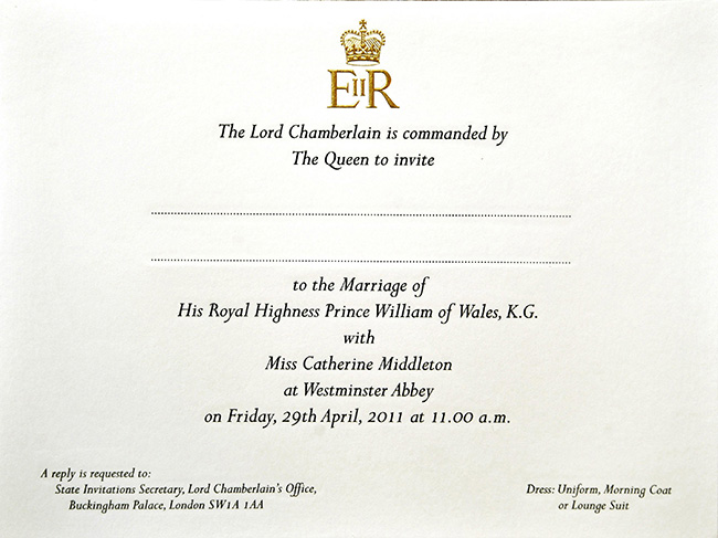 A copy of Prince William and Kate's invites Photo (C) GETTY