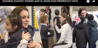 Adorable moment children wait to shake Kate Middleton's hand