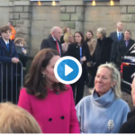 Catherine Duchess of Cambridge chatting to the welcoming committee at Coventry Cathedral