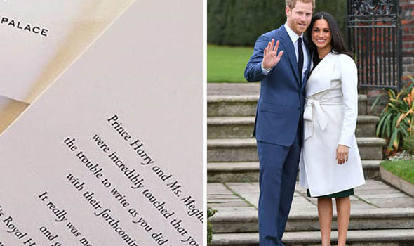 Harry and Meghan Markle have delighted well-wishers by sending out touching thank-you notes Photo (C) GETTY