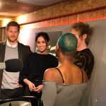 In the On Air studio Prince Harry and Ms. Markle meet presenter Glory as she records her show for @ReprezentRadio. Photo C TWITTER KENSINGTON PALACE