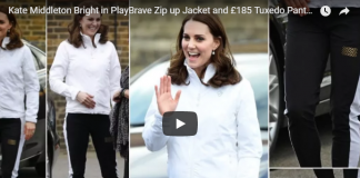 Kate Middleton Bright in PlayBrave Zip up Jacket and £185 Tuxedo Pants at Bond Primary School