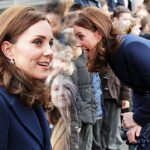 Kate Middleton Pregnant Duchess conceals baby bump in a blue coat without Prince William Photo C GETTY