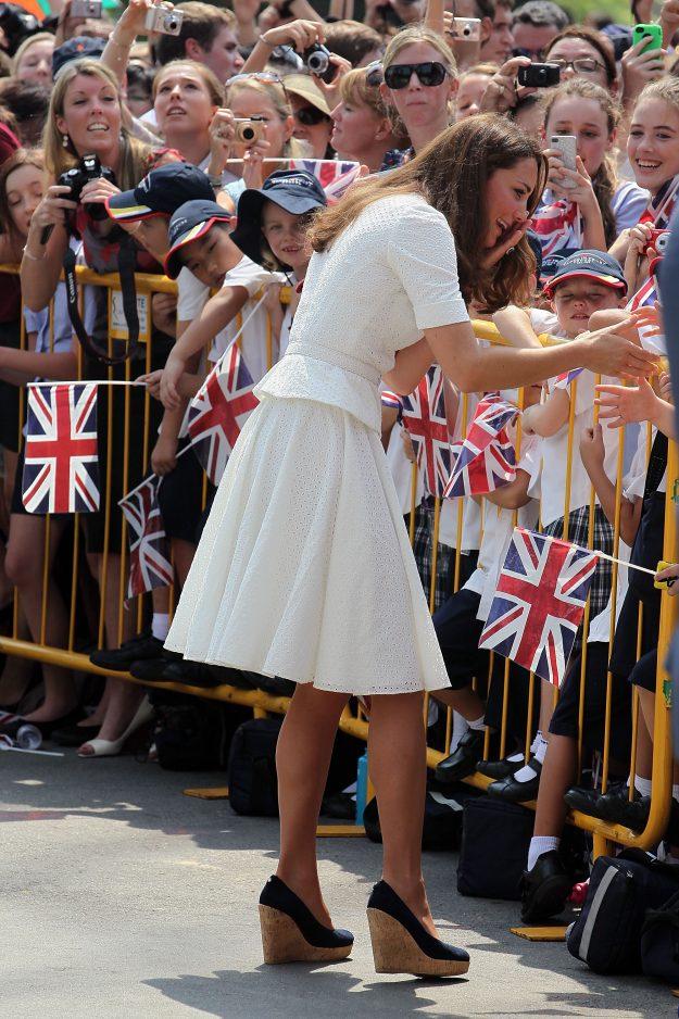When around the Queen Kate Middleton will wear a court high heel Getty