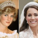 Meghan Markle Princess Diana in the The Cambridge Lovers knot tiara and Kate in the Cartier Halo Photo C GETTY