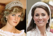 Meghan Markle Princess Diana in the The Cambridge Lover's knot tiara and Kate in the Cartier Halo Photo (C) GETTY