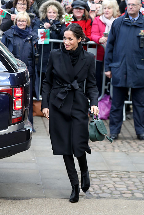 Meghan Markle was all smiles as she greeted crowds in Cardiff on Thursday Photo (C) GETTY IMAGES
