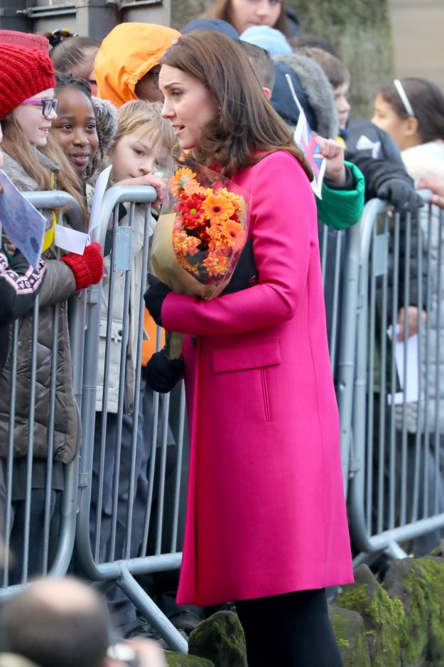 Pregnant Kate Middleton speaks to the crowds at Coventry Cathedral [Wenn ]