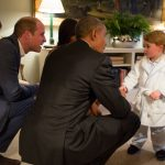 Prince George meets then US President Barack Obama in April 2016. Photo AAP