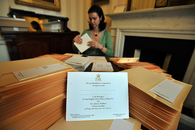 Prince William and Kate's invites are prepared for postage Photo (C) GETTY