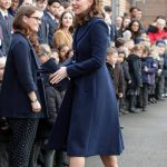 Prince Williams wife opted for a navy coat for the event Getty