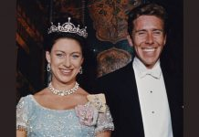 Princess Margaret, Countess of Snowdon wearing a tiara, with her husband, Antony Armstrong-Jones, 1st Earl of Snowdon at a ball in Washington DC, United States, 1965 Photo (C) GETTY