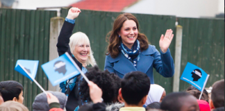 The Duchess of Cambridge has arrived at Roe Green Junior School to launch the @Heads_Together 'Mentally Healthy Schools' online resource. Photo (C) KENSINGTON ROYAL TWITTER